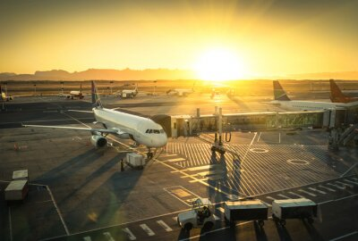 Sticker Flugzeug am Terminal Tor in Flughafen