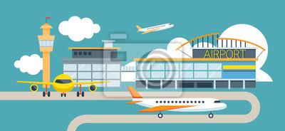 Flugzeug und Flughafen FD-design Illustration Symbole Objekte