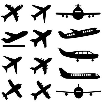 Sticker Flugzeuge in schwarz