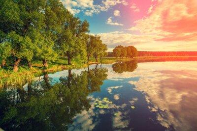 Sticker Flussufer mit Bäumen bei Sonnenuntergang