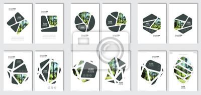 Sticker Flyer Layoutvorlage. Vektorbroschürenhintergrund stellte mit Elementen für Zeitschrift, Abdeckung, Plakat, Plandesign ein. A4 Größe.