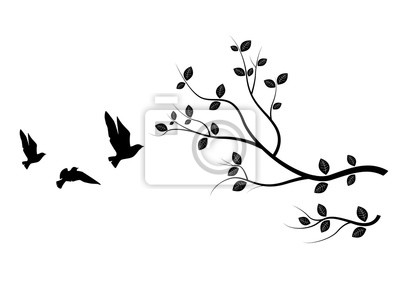 Flying Birds On Branch, Birds Silhouette,  Birds on Tree, Art Design, Wall Art, Wall Decals. Isolated on white background.