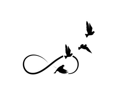 Flying birds silhouettes and symbol of infinity isolated on white background, vector. Minimalist art design, artwork. Wall decals, wall art decoration. Black and white design