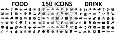 Sticker Food and drinks set 150 icons for menu, infographics, design elements – stock vector