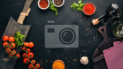 Sticker Food Background. Cooking. On the old background. Free copy space. Top view.