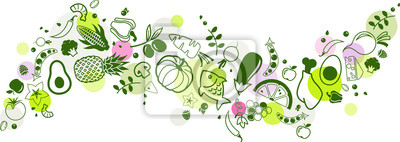 Sticker food banner green - healthy & colourful - vector illustration