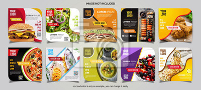 Sticker Food social media post collection card template