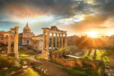 Sticker Forum Romanum. Ruinen des römischen Forum in Rom, Italien bei Sonnenaufgang.