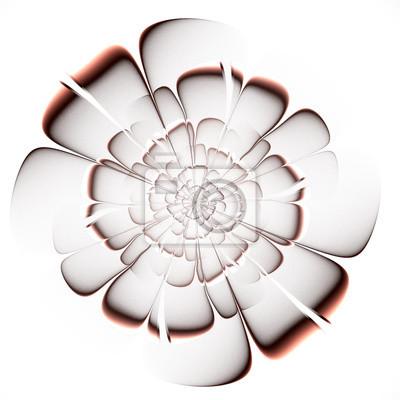 Fractal beige Blume auf weißem Hintergrund.