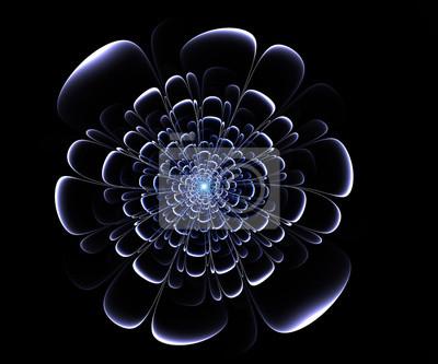 Fractal blaue Blume auf schwarzem Hintergrund. Computer erzeugte grap