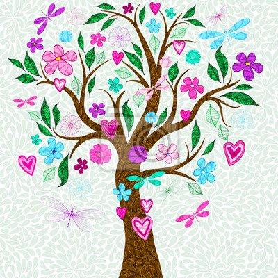 Frame with stylized spring tree with multicolored flowers and gragonflies.