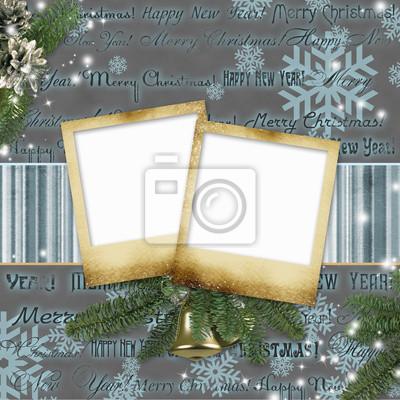 Frameworks für Fotos auf einem Weihnachtshintergrund