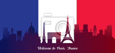 France Flag with Landmarks Skyline Background
