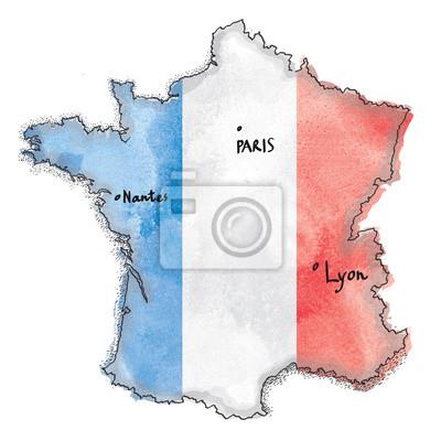 Sticker Frankreich Karte auf Frankreich-Flagge Zeichnung. Vintage Karte Aquarell