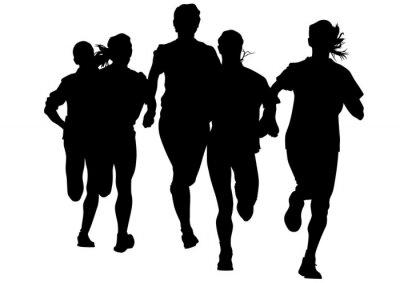 Sticker Frau Athleten auf Wettlauf auf weißem Hintergrund
