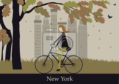 Frau auf dem Fahrrad in New York. Vector