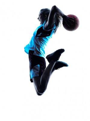 Sticker Frau Basketball-Spieler-Silhouette