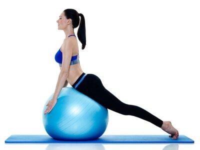 Sticker Frau Fitness Pilates Übungen isoliert