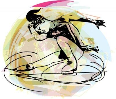 Sticker Frau ice skater in bunten Sport-Arena