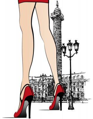 Frau in der Nähe Vendome Spalte in Paris