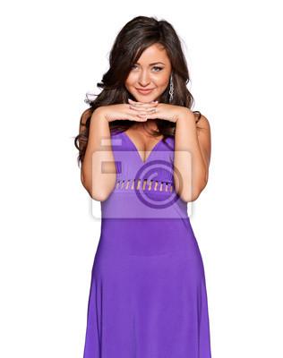 Frau in einem lila Kleid