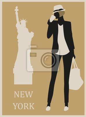 Frau in New York. Vektor