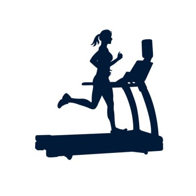Sticker Frau macht Übungen auf Laufband, auf weißem Hintergrund,