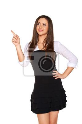 Frau nach oben zeigen, Kopie, Raum, isoliert auf weiß