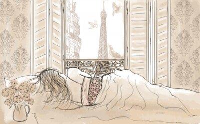 Frau schlafend in Paris