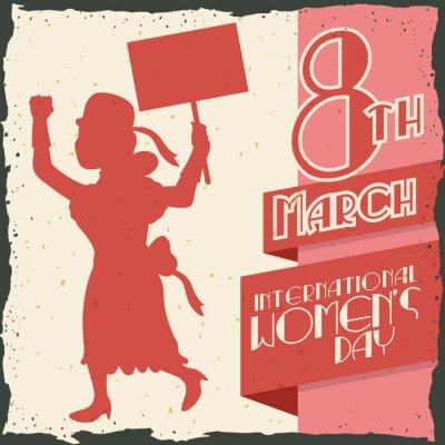 Sticker Frau Silhouette Marschieren in Women's Day Retro Poster, Vektor-Illustration IlVector
