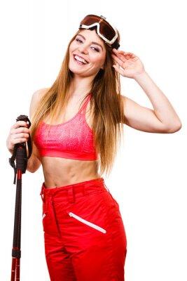 Sticker Frau Skifahrer in Googles mit Skistöcken. Wintersport
