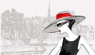 Frau über Ile de la Cité und Ile Saint Louis in Paris, dahinter