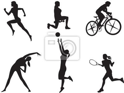 Frauen in verschiedenen Sportarten.