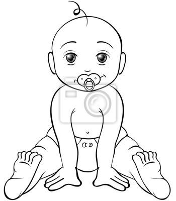Freches Baby Ausmalbild Notebook Sticker Wandsticker Windel
