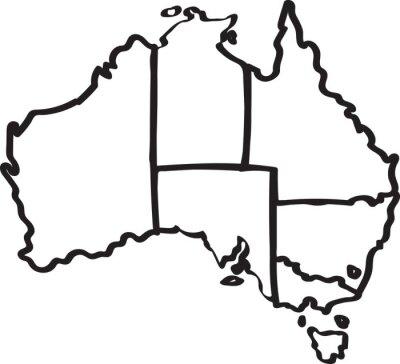 Sticker Freehand Australien Region Karte Skizze auf weißem Hintergrund. Abbildung.