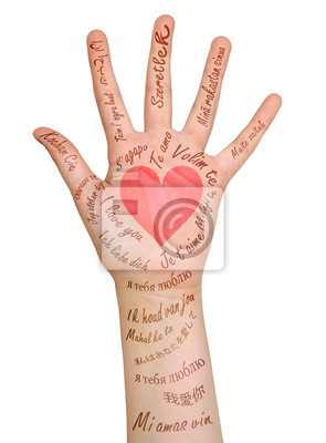 """Freehand Buchstaben """"Liebe"""" und rot auf der Hand gehört."""