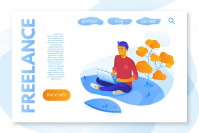 Freelance service landing page flat color template