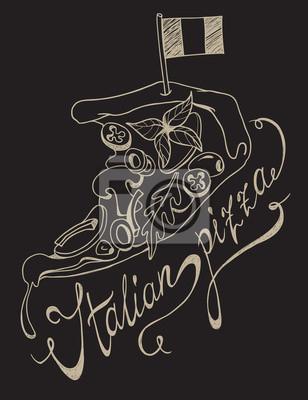 Freihandzeichnung von Pizzaschnecke mit italienischer Flagge und handschriftlicher Schriftzug auf Tafel.