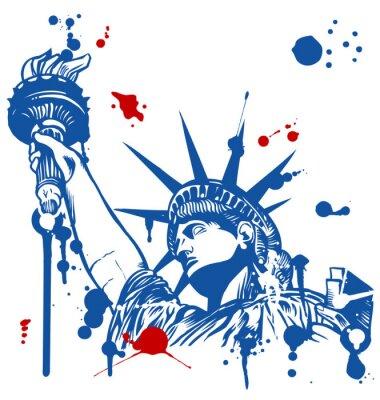 Sticker Freiheitsstatue mit Fackel mit Tinte tropft
