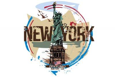 Sticker Freiheitsstatue, New York / USA. Stadtgestaltung. Hand gezeichnete Illustration.