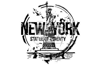 Freiheitsstatue, New York. USA. Stadtgestaltung. Hand gezeichnete Illustration.