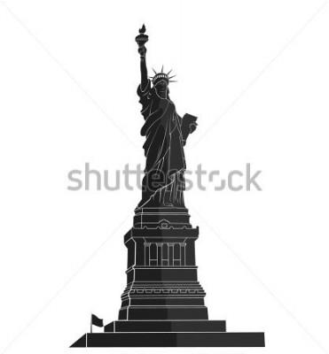Sticker Freiheitsstatue. New York Wahrzeichen. Amerikanisches Symbol. flache Silhouette