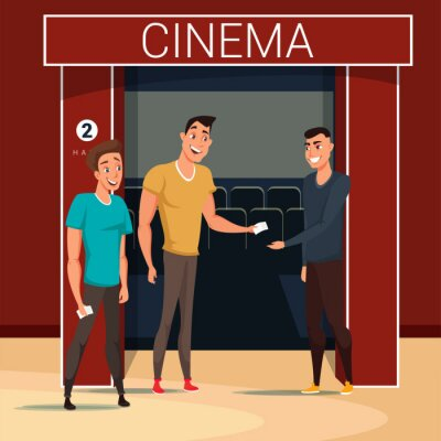 Friends going to cinema flat vector illustration