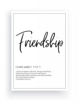Friendship definition, Scandinavian Minimalist Design, Wall Decor, Wall Decals Vector, Friendship noun description, Wording Design, Lettering, Art Decor, Poster Design isolated on white background
