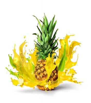 Sticker Frische Ananas-Frucht saftigen Geschmack splash