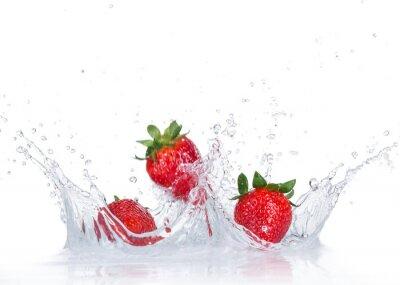 Sticker Frische Erdbeeren mit Wasserspritzen