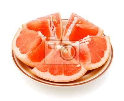 Frische Grapefruits getrennt auf einem weißen Hintergrund