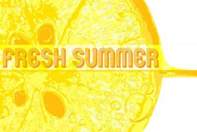 Sticker Frische Zitrone mit Text frischen Sommer