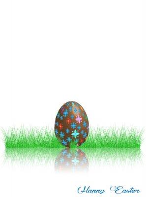 Frohe Ostern. Dekoriertes Ei im grünen Gras