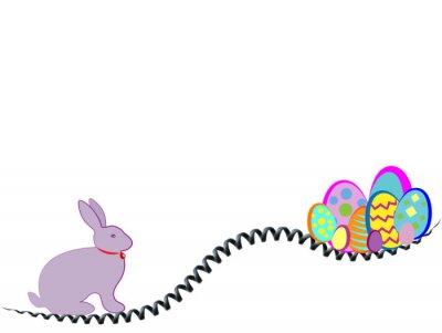 Frohe Ostern. Kaninchen und Eier bunt in den Spielen mit dem Stahlfeder